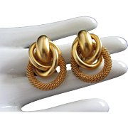 Mesh and Yellow Gold Tone Circle Earrings