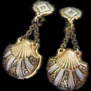 Dangling Damascene Double Sided Clam Shell Earrings