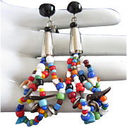 Dangling Fetish Earrings with Turquoise, Coral and Glass Beads