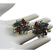 Captivating Amethyst and Sapphire Pinwheel Rhinestone Earrings