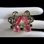 Black Diamond, Rose and Fuchsia Rhinestone Earrings