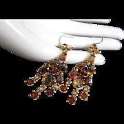 Monet Pierced Earrings, Dangling Topaz Rhinestones