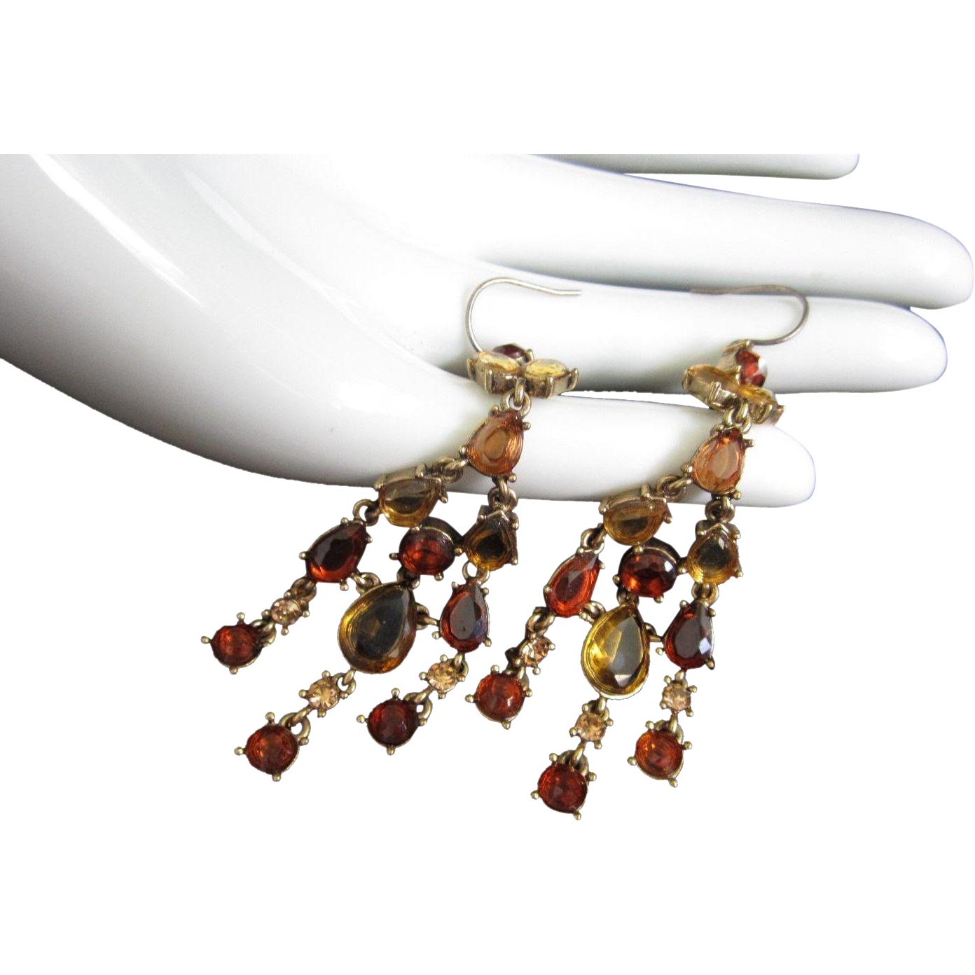 Monet Pierced Earrings, Dangling Topaz Rhinestones