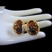 Radiant Light and Dark Topaz Rhinestone Earrings