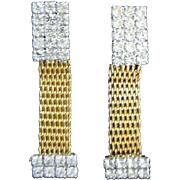 Gold Tone Mesh and Clear Rhinestone Dangling Vintage Earrings