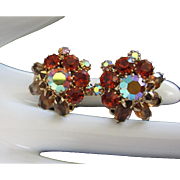 Weiss Topaz and Hyacinth Orange Rhinestone Earrings