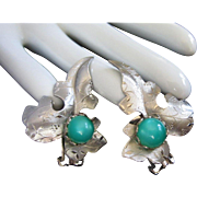 Silver Tone and Seafoam Green Lucite Leaf Earrings