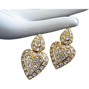 Nolan Miller Clear Rhinestone Heart Shaped Dangling Pierced Earrings