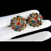 Multi Colored Rhinestone Screw Back Vintage Earrings