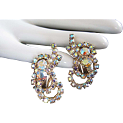 Light AB Rhinestone Loopy Ribbon Earrings