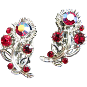 Lisner Ruby Red and AB Rhinestone Flower Vintage Earrings
