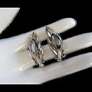 Hematite Navette Silver Tone Leaf Earrings, Clip On