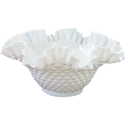 Vintage Fenton Milk Glass Hobnail Ruffled Bowl