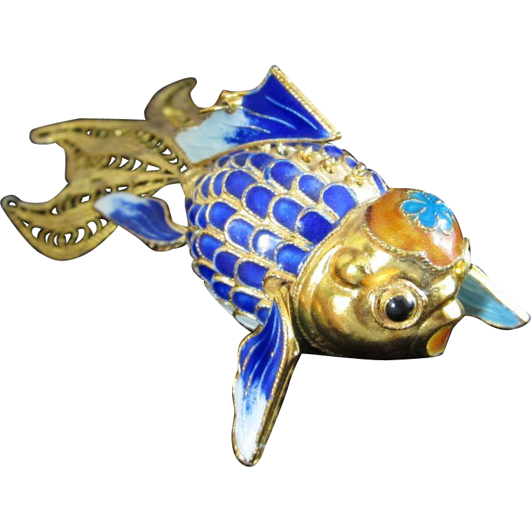 Amazing articulating vermeil chinese koi fish with google for Amazing koi fish