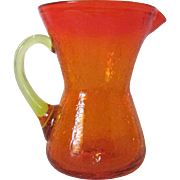 Small Vintage Amberina Crackle Glass Pitcher ~ REDUCED!