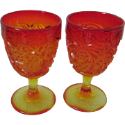 Vintage Amberina Orange Yellow Goblets, Glasses, Set of 2