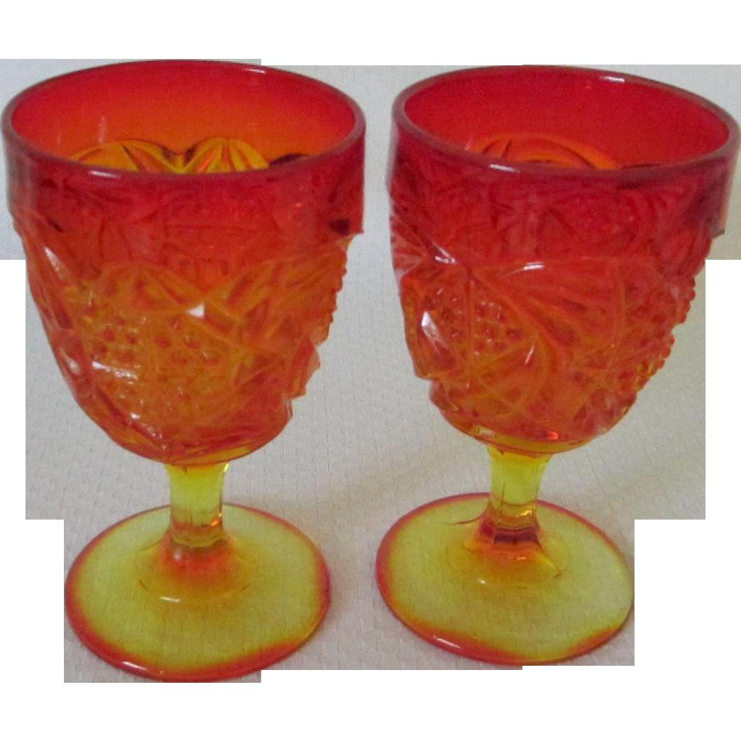 Vintage Amberina Orange Yellow Goblets Glasses Set Of 2