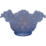 Fenton Blue Basketweave Bowl