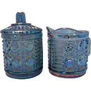 Blue Carnival Glass Creamer and Sugar Set, Indiana Glass Company