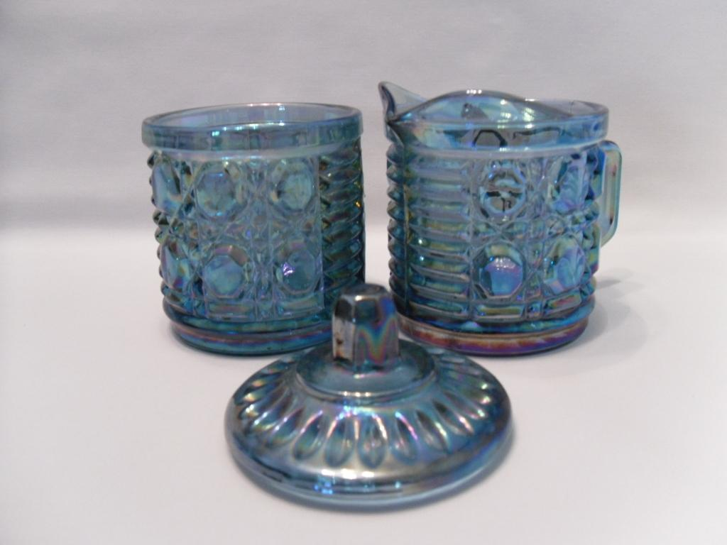blue carnival glass creamer and sugar set indiana glass company  - roll over large image to magnify click large image to zoom