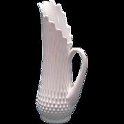 """Pristine White Fenton Hobnail Milk Glass 14"""" Vase"""