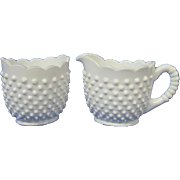 Fenton Milk Glass Large Creamer and Sugar, Hobnail Pattern