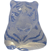 Magnificent Viking Crystal Clear and Frosted Glass Tiger