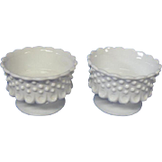 Fenton Set of Milk Glass Hob Nail Candlesticks, Candle Holders