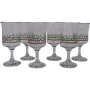 Holiday Stemmed Glassware with Holly Leaves and Berries, Set of 6