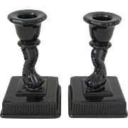 Imperial Glass Glossy Black Dolphin Candlesticks