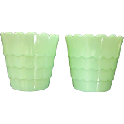 Vintage Pair of Jadeite Flower Pots