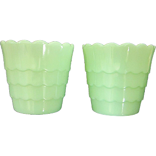 Vintage Pair of Jadeite Flower Pots