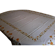 Vintage 1950's Autumn Leaf Tablecloth