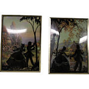 Romantic Vintage Paint on Glass Victorian Style Pictures