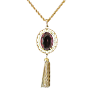 Vintage Avon Amethyst Rhinestone Pendant with Tassels Necklace ~ 1/2 OFF!!!