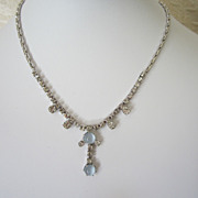 1/2 OFF!! ~ Vintage Rhinestone and Faux Moonstone Choker Necklace
