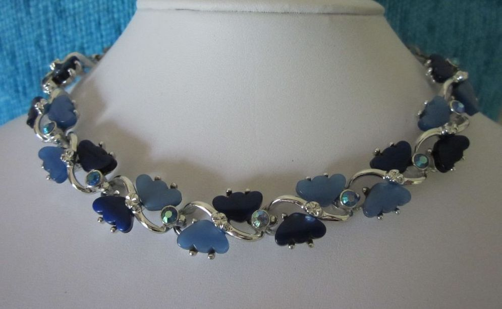 Luminous Cornflower and Midnight Blue Lucite and Rhinestone Necklace