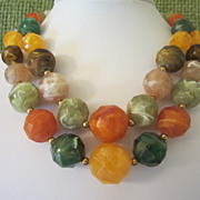 Vintage Colorful Thermoset Beaded Double Strand Necklace ~ REDUCED!