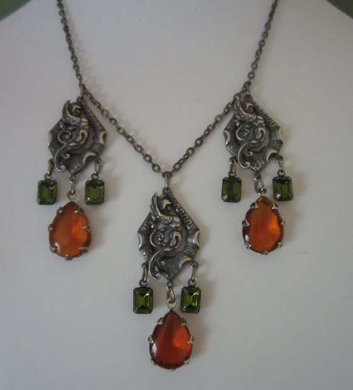 Vintage Pewter Mythical Warriors with Topaz and Olivine Rhinestones Necklace