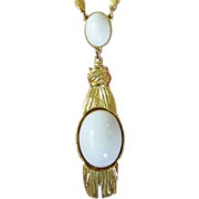 1/2 OFF ~ Vintage White Cabochons with Faux Tassels in Gold Tone Necklace ~ REDUCED!
