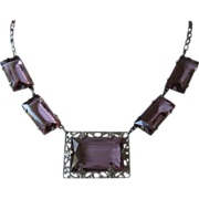REDUCED! ~ Delicate Amethyst Rhinestone Choker Style Necklace ~ FREE SHIP!