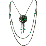 Unique JAPAN Green Glass Beads Three Strand Necklace ~ REDUCED!