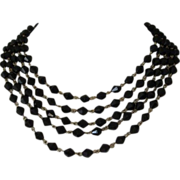 1/2 OFF! ~ Vintage Vintage Five Strand Black Glass Necklace ~ REDUCED!!