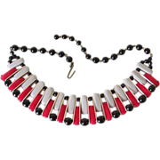West Germany Lucite Collar Necklace in Red, Grey and Black ~ REDUCED!!