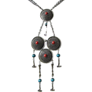 Faux Turquoise and Carnelian Dangling Statement Necklace ~ REDUCED!