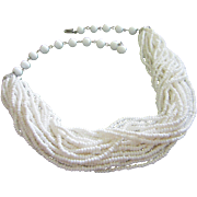 Vintage Multi Strand White Glass Bead Torsade Necklace ~ REDUCED!