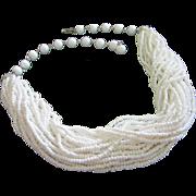 Vintage Multi Strand White Glass Bead Torsade Necklace ~ REDUCED!