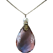 Victorian Style Amethyst Teardrop Pendant Necklace ~ REDUCED!