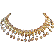 Stunning Amber Aurora Borealis Crystals Choker or Collar Style Necklace ~ REDUCED ~ 50% OFF!