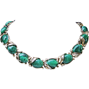Trifari Marbled Malachite Green Lucite Necklace ~ REDUCED!